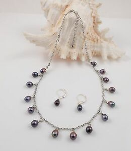 Peacock Teardrop Freshwater Pearl & Chain Necklace Earrings Set For Mothers