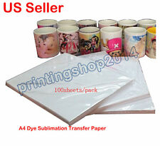 100 Sheets A4 Dye Sublimation Transfer Paper for Mug Cup Plate polyester T-shirt