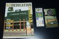 Green Bay Packers Lambeau Field Rededication Program Coin Ticket Stub 2003 9/7