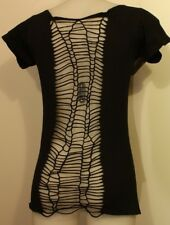 Women's Festival LOOK Black T-shirt With STUNNING Snakeskin Effect Knotted Back M