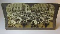 RARE 1903 E W Kelley Stereoview Card - Copenhagen Denmark Market Square BUSY