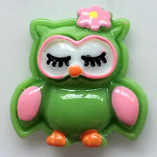 5 pieces of green owl embellishment pink flower flat back gift scrapbook8
