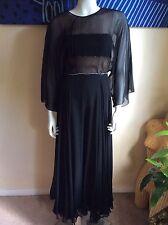 VINTAGE Black Silk Chiffon Wide Leg Jumper Jumpsuit Rhinestones Size 2-4