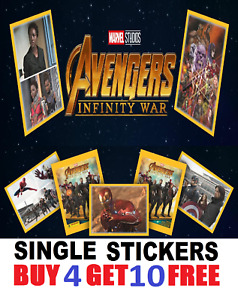 Panini AVENGERS INFINITY WAR  SINGLE STICKERS  Buy 4 get 10 FREE! 2018