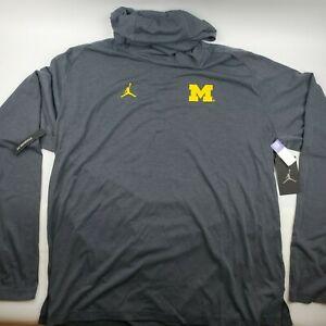 Jordan Michigan Wolverines Basketball Long Sleeve Hooded Shirt Grey Mens 3XL