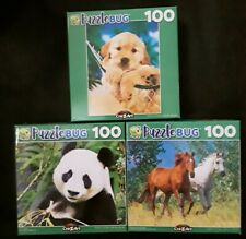 New 100 Piece Jigsaw Puzzle (Lot of 3) Horses Panda Dog Puppy