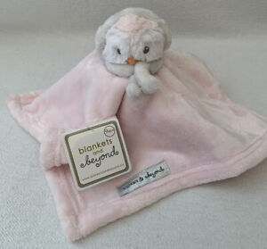 BLANKETS & BEYOND NWT Pink Owl Penguin Earmuffs Security Blanket Lovey Nunu Baby
