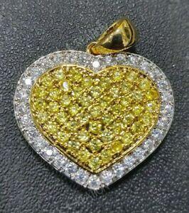 2.50Ct Round Cut Diamond Puff Heart Pendant Charm Citrine 14K Yellow Gold Finish