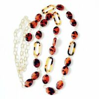NEW Tortoise Shell Necklace Acrylic Gold Tone Link Chain Link Boutique Fashion