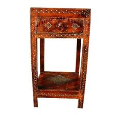 Hand Painted Wooden Embossed 1 Drawer End Table Nightstand Bedside Table