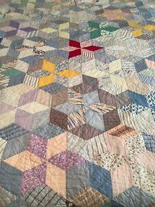 """Vintage/Antique 6 Point Star Patchwork Cotton Handmade Quilt Feedsack 67"""" x 88"""""""