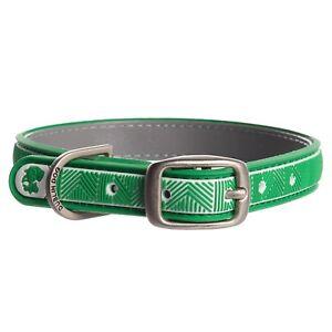Green Dublin Dog Chevron No-Stink Waterproof Collar Small 11-14 Inches