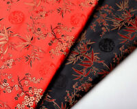 "CHINA BAMBOO & DRAGON:by 1/2 YD. X 28"" SILK DAMASK SATIN JACQUARD BROCADE FABRIC"