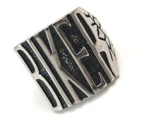 BIKER Ring Men's Surgical Steel Tapered Nugget 2 Tone Bold Size 10 11 12