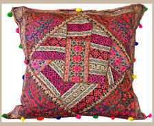 """Hand Crafted Silk Recycled Embroidered Patchwork 24"""" Pillow Cover from India"""