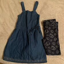 Girls Pinafore Dress And Hello Kitty Treggings Age 6-7 Years