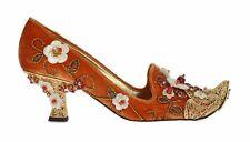 NEW $10600 DOLCE & GABBANA Shoes Orange Velvet Gold Crystal Heels  EU38 / US7.5