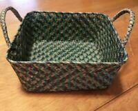 Vintage Woven Basket Handles Square Storage Organize Gather BOHO Colorful Rattan