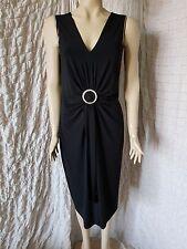 Joseph Ribkoff black embellished buckle sleeveless formal drape dress size 14UK