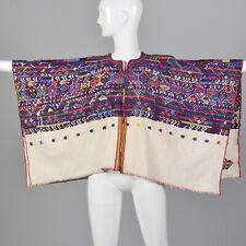 1950s Bohemian Huipil Poncho Hand Loomed Cotton Boho Cape Serape Top Vintage 50s