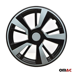 15'' Hubcaps Wheel Rim Cover Black with Light Blue Insert 4pcs Set For Nissan