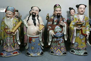 beautiful chinese famille rose porcelain the Eight Immortals statue