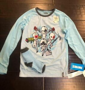 Fortnite Kids XL Sleep Shirt Pajama Top & Cozy Socks Blue Long Sleeve NWT