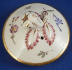Antique 19thC French Porcelain Floral Single Lid France Porzellan Deckel