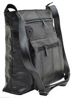 Women's Leather Midsize Shoulder Bag Purse Handbag Multiple Zipper Pockets Black