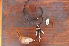Funky Handmade Black Cord, Crystal Quartz & Siler Feather Pendant Long Necklace