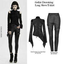 Gothic Vazada Tops Mulheres Com Cordão Preto Manga Longa Gola Alta T-shirt