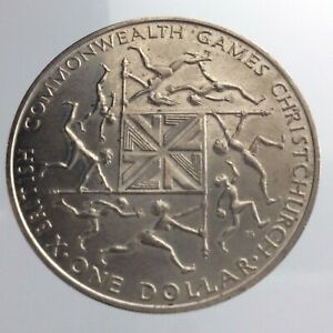 1974 New Zealand One 1 Dollar KM# 44 Commonwealth Games Christchurch Coin V367