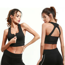 Women Yoga Sports Running Bra Front Zipper Tank Crop Top Vest Stretch Racerback