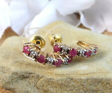 14k Yellow Gold over Sterling Silver 925 Red Ruby Half Hoop Post Earrings  #740