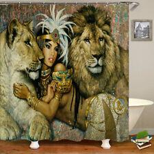 African Women Shower Curtain 12 Hooks Bath Mat Toilet Cover Rug Decor Set Usa