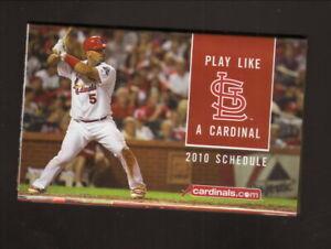 St Louis Cardinals--Albert Pujols--2010 Pocket Schedule--Bank of America