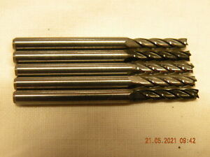 x5 off 2.5mm Carbide End mills 4 fluted milling cutters light use sharp