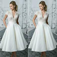 Vintage Womens White Lace Bride Dress Tea Length Wedding Gowns Wedding Dress New