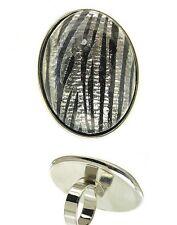 Acrylic Ornament Zebra Pattern Metal Casting Ring!