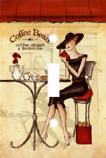 FASHION LADY AT COFFEE & BOOKSTORE LIGHT SWITCH PLATE COVER