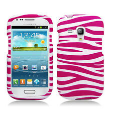 AT&T Samsung Galaxy S3 MINI i8190 Rubberized HARD Phone Case Pink White Zebra
