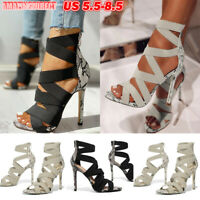 Womens Bandage High Stiletto Heels Snakeskin Strappy Sandals Zipper Shoes Size