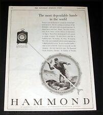 1931 OLD MAGAZINE PRINT AD, HAMMOND SYNCRONOUS ELECTRIC CLOCKS, FOOTBALL ART!