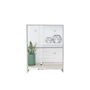 2 Deawers Mirrored Glass Shoe Cabinet Storage Organiser Racks Shelf uk stock