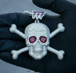 2.60 Carat Round Cut Red Ruby Hip Hop Skull Pendant 14k White Gold Finish 925
