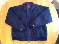 Vintage WOOLRICH Wool Coat Jacket Navy Blue Plaid Lined Men's Sz XL Made in USA