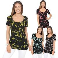 Femmes Top Haut Imprimé Délavé T-Shirt Chemise Blouse Tunique Long Mode