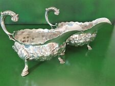 PAIR ANTIQUE GEORGIAN STERLING SILVER SAUCE BOATS LONDON 1763