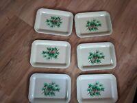 "Lot Of 6 Vintage Metal Mini Pine Cones Trays - 6 3/4"" x 4 3/4"""