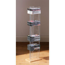 Floor Standing DVD Rack Wood Base Chrome Finish Holds up to 50 DVDs Storage New